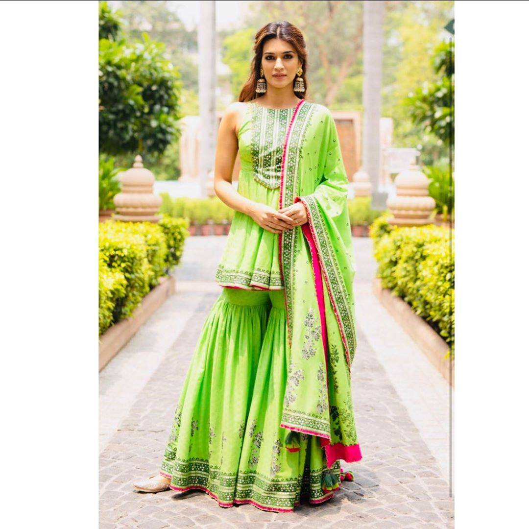 Kriti Sanon was spotted in Delhi a day ahead of the release of her upcoming movie Arjun Patiala looking very Punjabi in a green sharara. - Fashion Models
