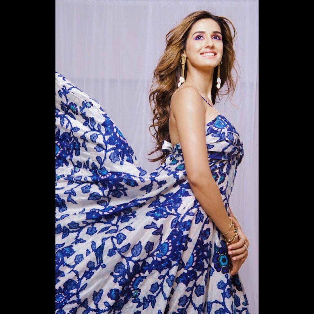 Disha Patani was recently spotted in a custom-made blue floral noodle strap dress from Ritu Kumar - Fashion Models