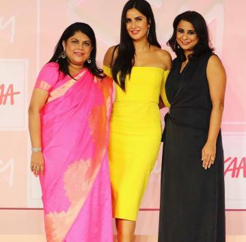 Katrina Kaif hosted the launch of her own range of makeup and other cosmetics in this simple off-shoulder yellow gown from Alex Perry - Fashion Models