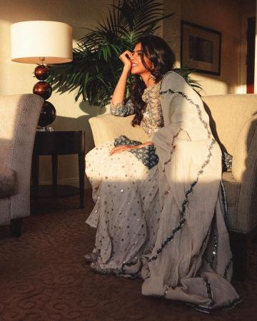 Kalyani Priyadarshan recently shared some pictures from her visit to the Gulf and we love the Maisara ensemble that she is wearing - Fashion Models