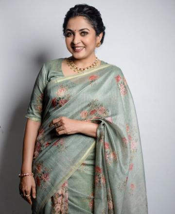 Ramya Krishnan, who has been creating ripples online, what with the launch of the web series Queen, was spotted in this wonderful floral saree - Fashion Models
