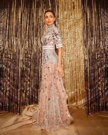 The gown has a closed neck and shirt sleeves, with a sheer flowy skirt that shows of Malaika's legs - Fashion Models