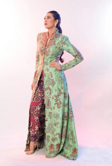 The sea-green kurta is paired well with the maroon pants; we love the prints on the pants too - Fashion Models