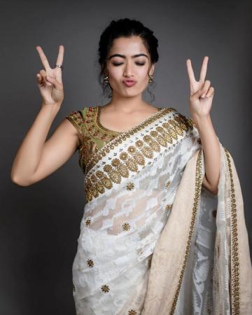 Rashmika Mandanna was recently seen in this beautifully worked saree from House of Three  - Fashion Models