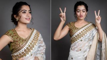 Rashmika Mandanna looking pretty as usual in a saree