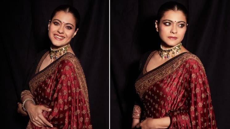 Kajol's maroon saree is a cool choice