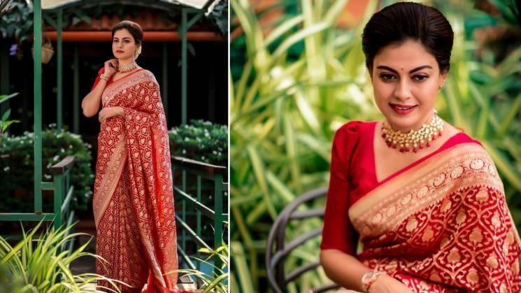 Anushree's red saree oozes festive swag