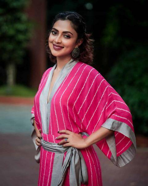 Amala Paul attended the launch of Petoria Wellness store on New Year's eve in this beautiful kaftan jumpsuit from Nupur Kanoi - Fashion Models