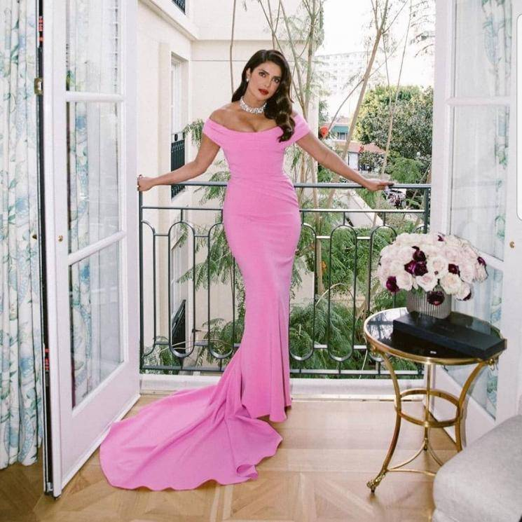 The pink hand draped bustier gown flatters Priyanka well and the train is a cool feature - Fashion Models