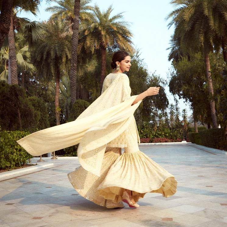 Deepika Padukone had a great day promoting the movie Chhappak in Lucknow, in a pale yellow sharara set from designer Anjul Bhandari - Fashion Models