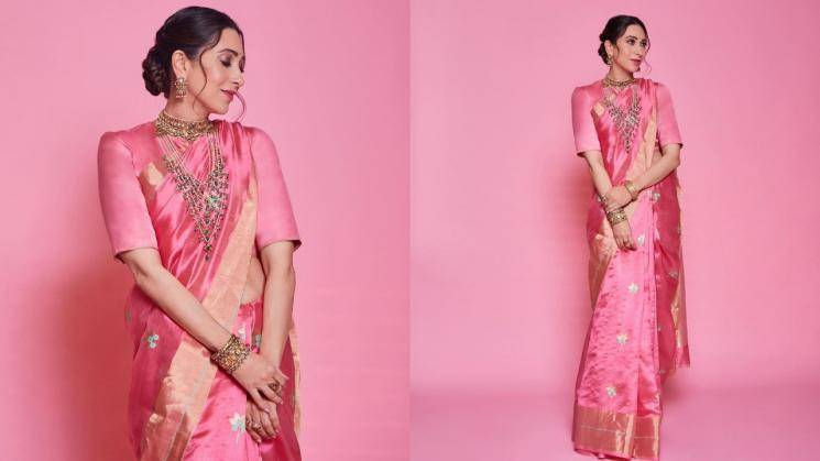 Karishma Kapoor is a grand picture in this Raw Mango saree