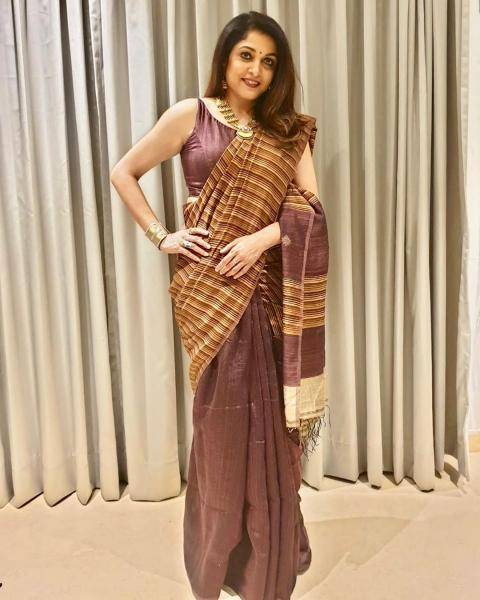 Our very own Ramya Krishnan was recently spotted in this dignified burnt pink and brown saree that we liked  - Fashion Models