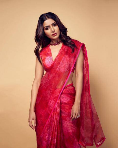 Samantha Akkineni was recently seen in this stunning bright saree from Raw Mango - Fashion Models