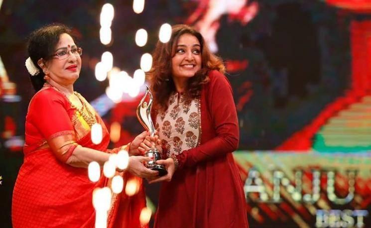 Manju Warrier was spotted at the Vanitha Film Awards in this wonderful deep red Anarkali from Juglabandhi - Fashion Models