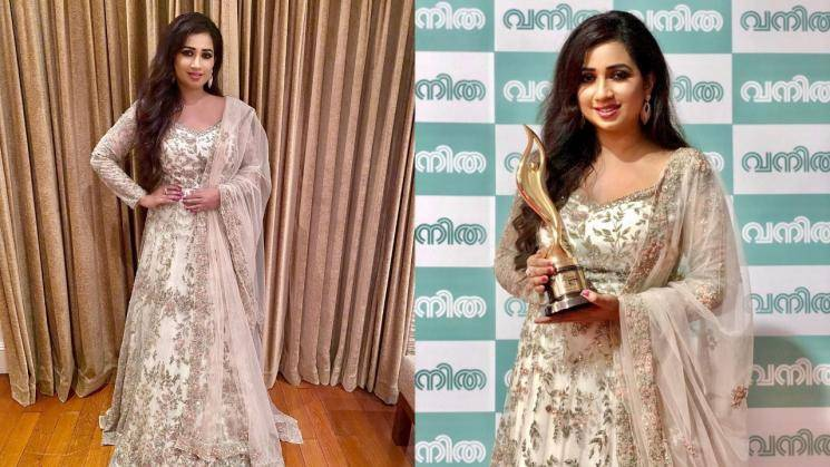 Shreya Ghoshal in embroidered white Anarkali