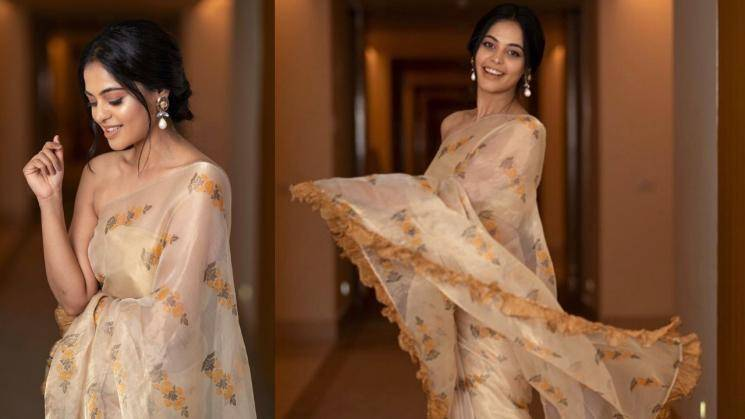 Bindu Madhavi's ruffled saree is sweet