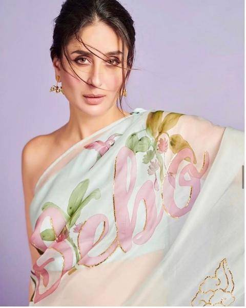 The hand painted pure Italian organza dull rose saree enhanced with hand embroidered gota has the word Janu customised on it; Kareena had gotten her pet name painted on - Fashion Models