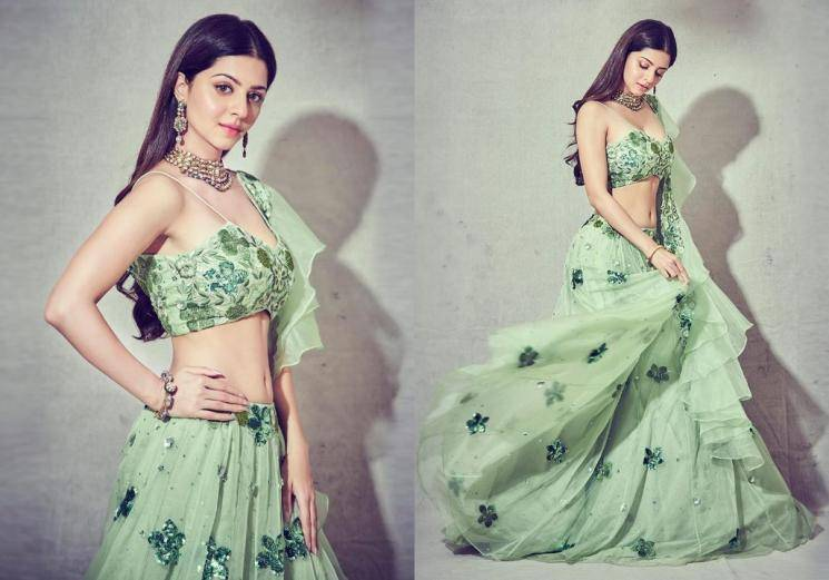 Vedika's green lehenga is a cool option