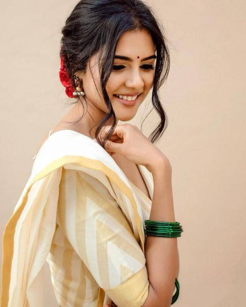 Kalyani Priyadarshan was recently spotted in this Kerala-style designer half saree from Pranaah - Fashion Models