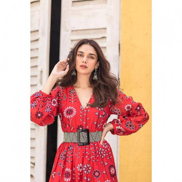 Aditi Rao Hydari was recently spotted in this red floral print dress from Zara - Fashion Models