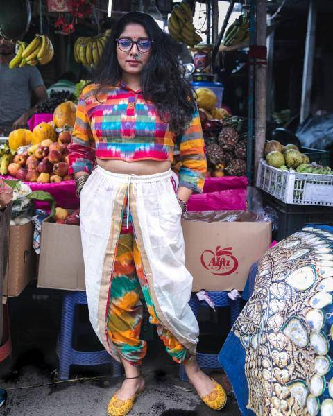The white dhoti pants from the label 145 East have a colourful border and pairs perfectly with that very-Kerala checkered crop top - Fashion Models