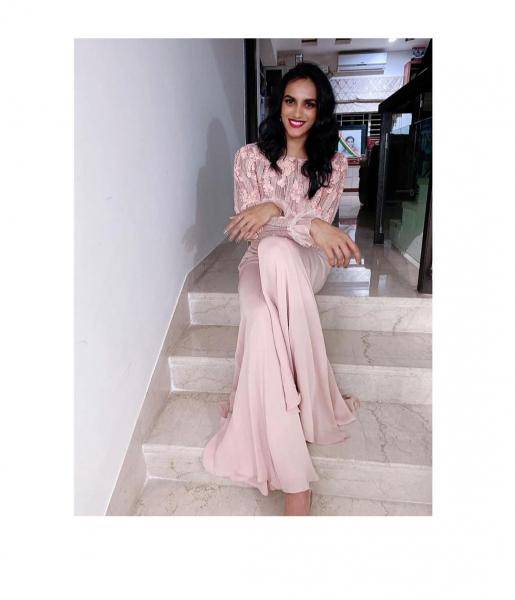 PV Sindhu was recently spotted in this peach coloured outfit from Ohaila Khan  - Fashion Models