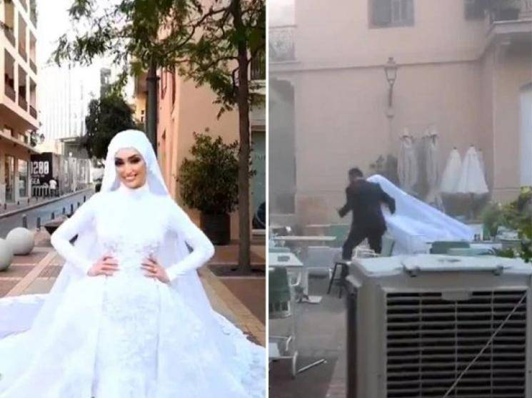 Footage of Lebanese bride's wedding video shoot at the time of Beirut blast goes viral