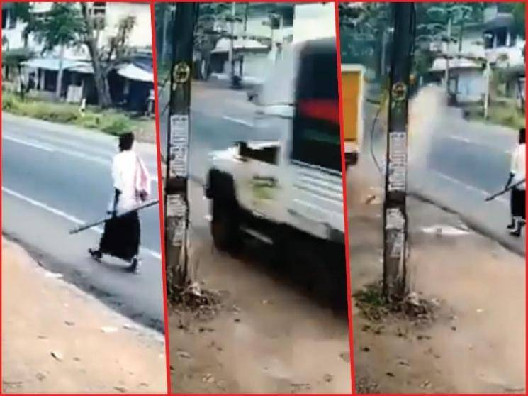 Man in Kerala has a narrow escape from speeding vehicle - VIRAL VIDEO -