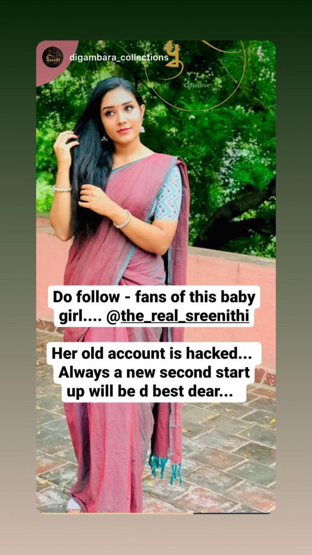 senthoora poove actress sreenithi instagram account hacked