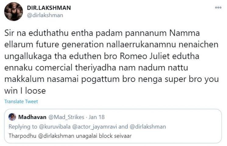 bhoomi director lakshman replies to a fan about bhoomi negative reviews