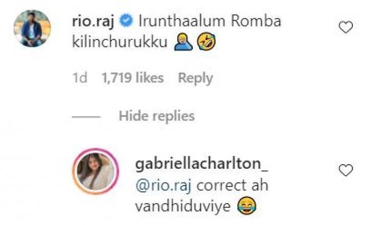 bigg boss rio raj funny comment on gabriella latest photos