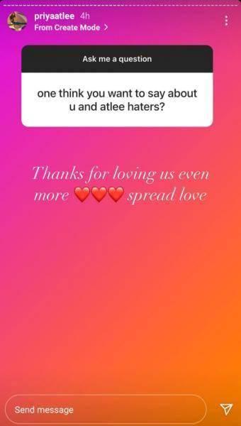 priya atlee epic reply on director atlee haters goes trending