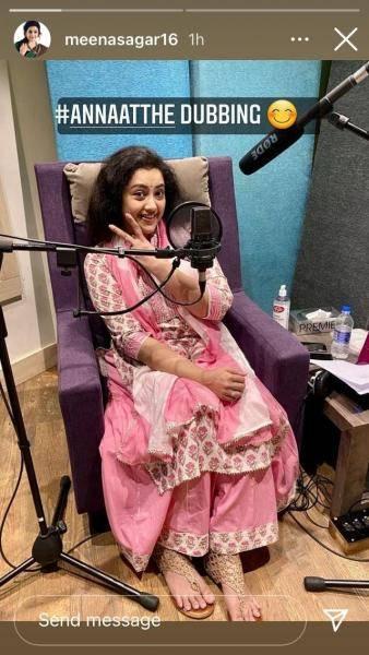 actress meena shared the photos of annaatthe dubbing work with director siva