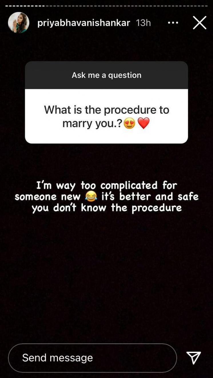 priya bhavani shankar reply to a fan who asked to marry her on instagram