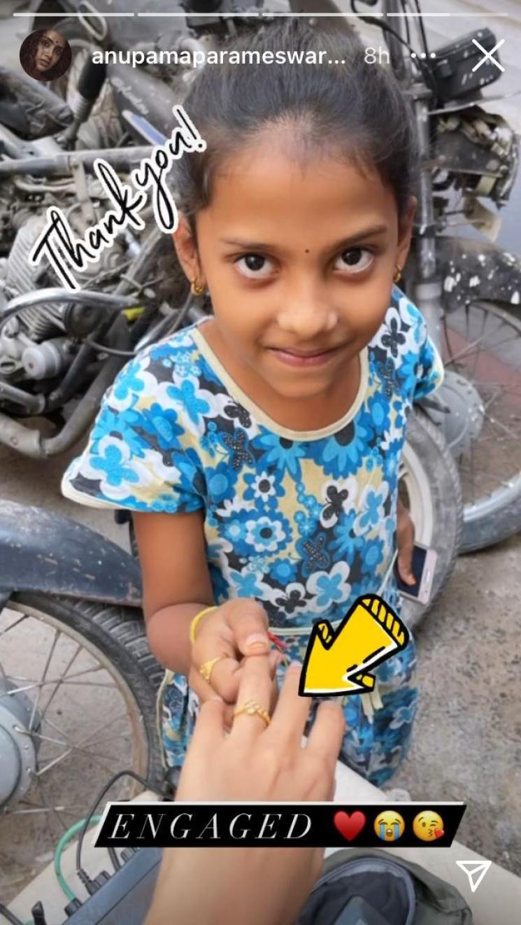 anupama parameswaran engaged shares fun story in instagram after fans gift