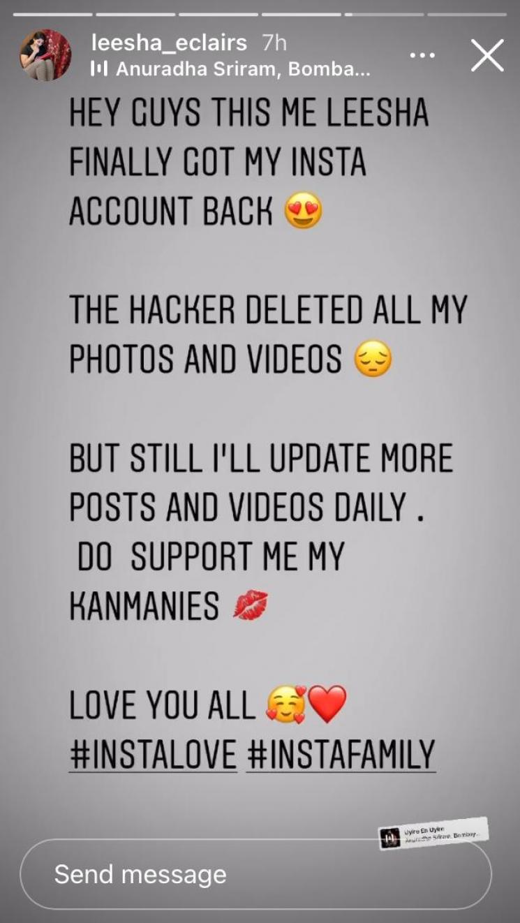 kanmani serial heroine leesha eclairs instagram account hacked and retrived