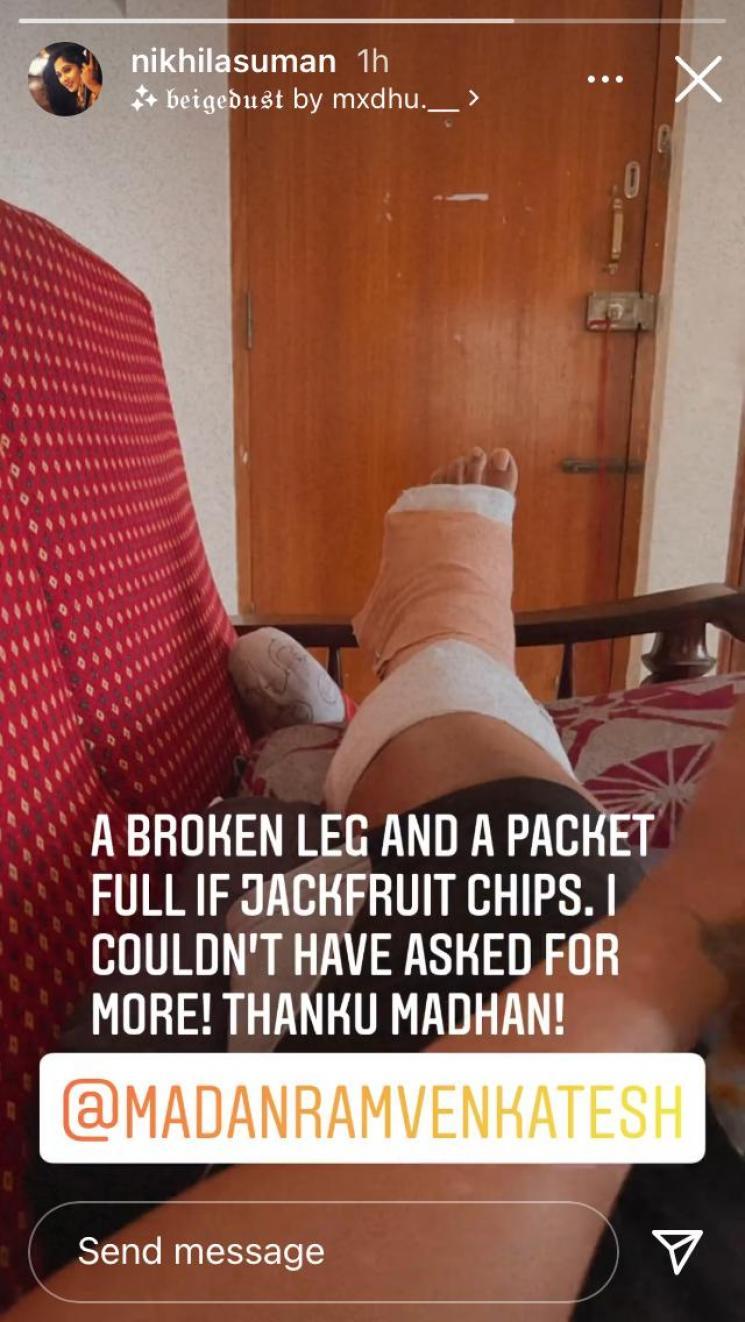 vani rani and chithi 2 fame nikhila suman sustains a leg injury