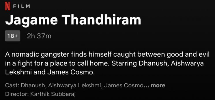 dhanush jagame thandhiram storyline runtime netflix karthik subbaraj