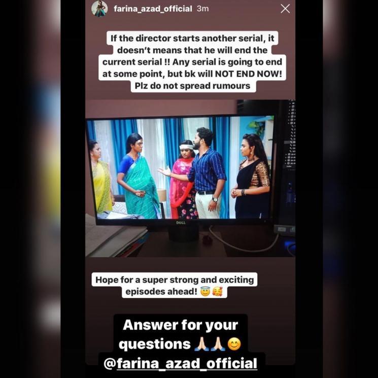 farina azad denies rumours of barathi kannamma serial getting stopped