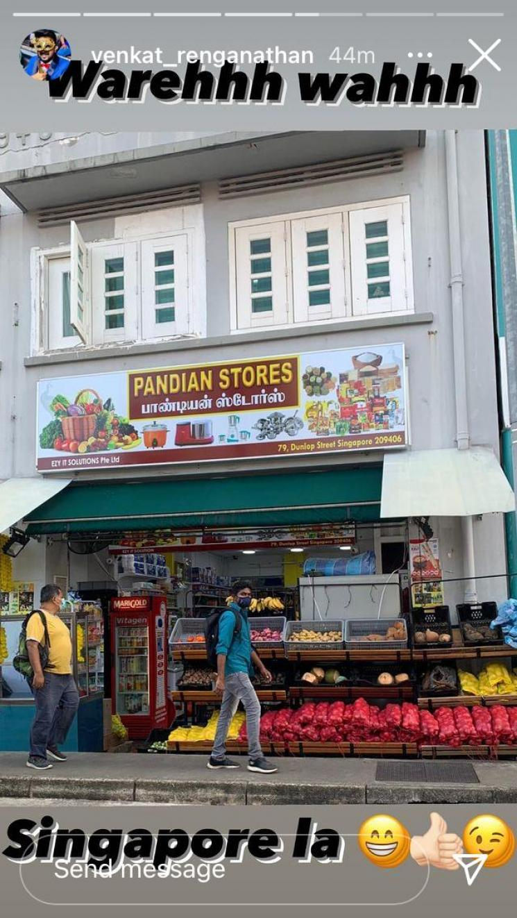 pandian stores venkat shares picture of shop named in singapore after serial