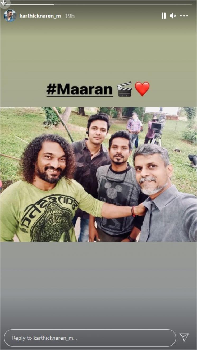 dhanush maaran recent shooting spot picture of karthick naren malavika mohanan