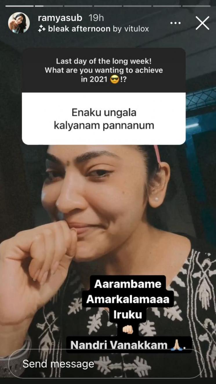 vj ramya subramanian funny reply to a fan who proposed her on instagram
