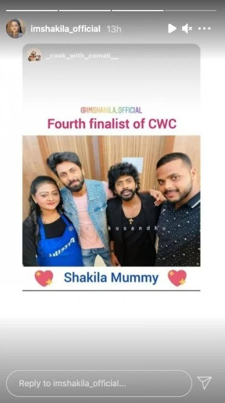 shakeela qualified as the fourth finalist of cook with comali season 2