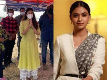 actress keerthy suresh resumes her shooting in saani kaayidham
