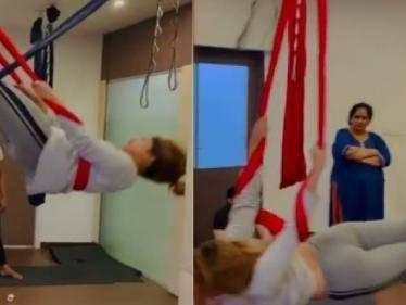 bigg boss tamil fame shivani narayanan latest aerial yoga video goes viral