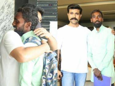 ram charan met his fans who came by walk of 231kms for four days