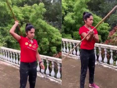 லாக்டவுனில் சிலம்பம் கற்றுக்கொண்ட ரம்யா VJ ! வைரல் வீடியோ