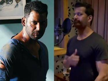 vishal started his dubbing for his action thriller enemy movie arya anand shankar
