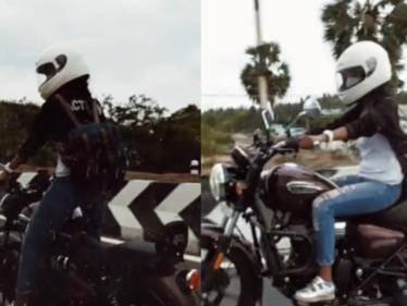 young tamil actress keerthi pandian trending bike riding video here