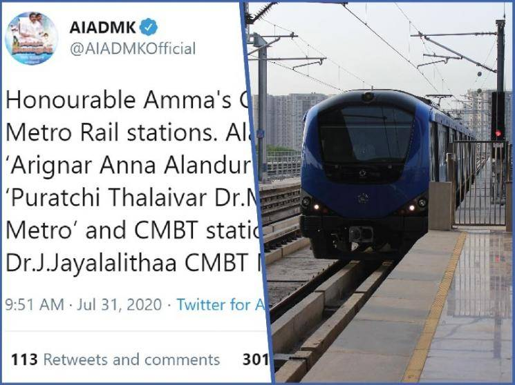 TN govt renames three Chennai Metro stations after Anna, MGR and Jayalalithaa